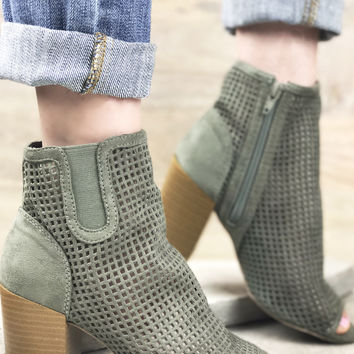 Camila Perforated Bootie - Olive