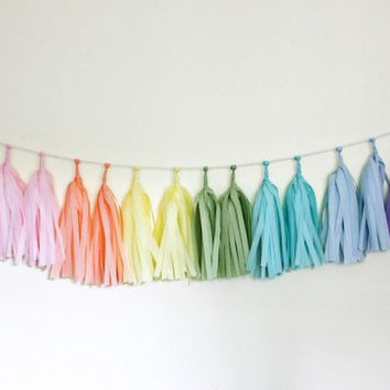 Garland tassel pastel rainbow tissue paper tassel // birthday // wedding // baby shower // tea party