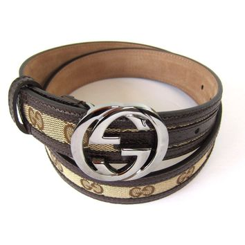 J-1949169 New Gucci Brown Silver Buckle Belt Size 34 Fits 32