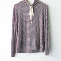 Striped Drawstring Hoodie - Burgundy