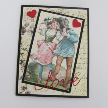 Valentines Day Card, Love, Anniversary Card, Vintage Script Card, Birthday Card, I love You