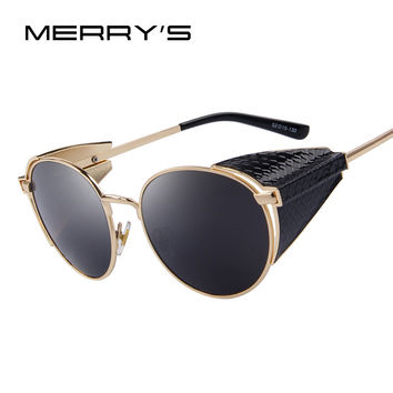 MERRY'S Retro Steampunk Sunglasses Gothic Coating Mirror Round Circle Lens Sunglasses
