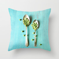 Give Peas a Chance Throw Pillow by Olivia Joy StClaire