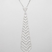 Silver Rhinestone Tie Necklace
