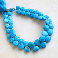 Howlite Dyed Turquoise Gemstone Briolette Blue Faceted Heart 8.5mm 1/2 Strand 22 beads