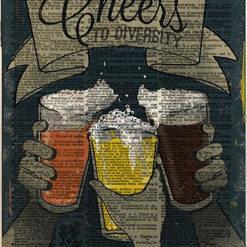 Beer art, bar decor, cool diversity artwork, cheers decor