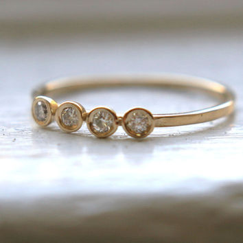 14K Yellow white and rose Gold 4 Diamonds Ring by Tulajewelry