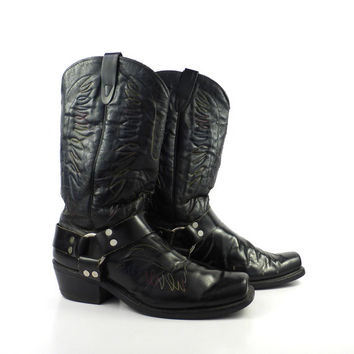 Black Harness Boots Vintage 1970s Motorcycle Leather men's size 12 D