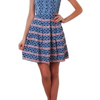 Chambray Printed Embroidered Fit and Flare Pleated Dress - Humblechic.com