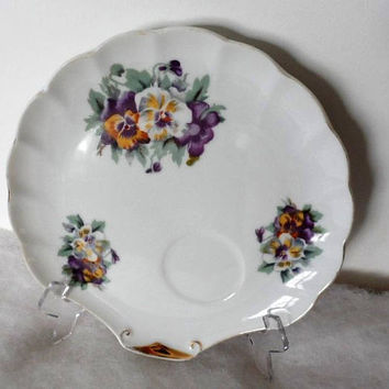 Vintage 1950s E S D Hand Painted Plate/Made in Japan/Vintage Shell Shaped Hand Painted Pansies Tea and Cake Plate/Cup and Dessert Plate