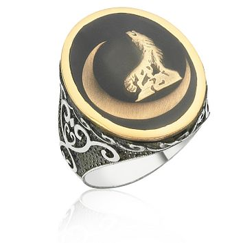 Wolf and crescent sterling silver ring