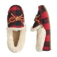crewcuts Boys Shearling Lodge Moccasins In Buffalo Check