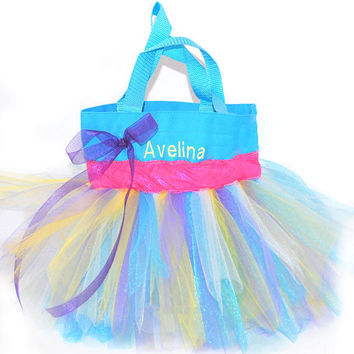 Light Blue Tutu Bag with Monogram Name Embroidered on it, Pink Glitter Colored Ribbon, Little Girl's Tote, Dance Clothes Bag, Princess Style