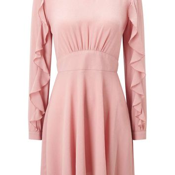 PETITE Nude Ruffle Sleeve Skater Dress - View All - Clothing