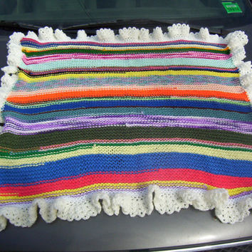 Knit Patchwork Stripe Baby Afghan with Ruffle