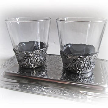 Antique Whiskey Glasses Rocks Glasses Silver Glasses Groomsmen Gift Best Man Gift Mens Gift Father's Day Gift Gift for Him Bourbon Glass Set