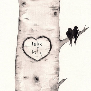Birch Tree Love No. 2 / Love Birds / Romance / watercolor print / grey / black and white / Archival / Wedding / Personalized