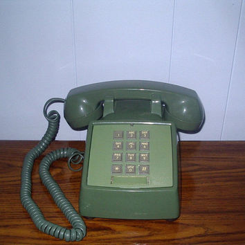 Vintage Green Telephone Push Button Style by by houseofheirlooms