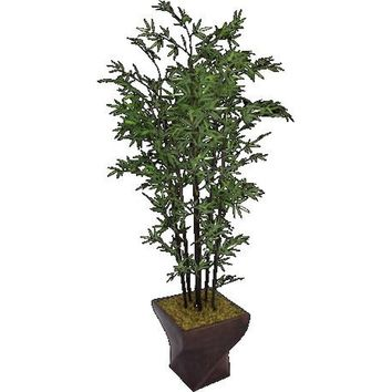"82"" Artificial Black Bamboo Tree in 17.5"" Black/Bronze Fiberstone Planter"