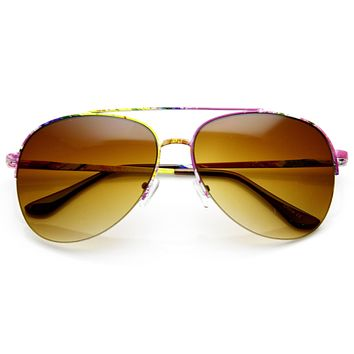 Wonderful Assorted Color Print Womens Metal Aviator Sunglasses 9463