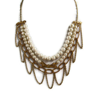 Gold / Pearl Bib Necklace, Multi Strand Statement Necklace, Glass Pearl Beads, Vintage Brass Chain, Upcycled Vintage