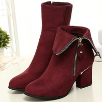 Women Leather Boots Thick with High-heeled Short Boot Martin Boots Side Zippers for Spring,autumn,winter Plus Size 35-41 Size 5-10 = 1932280260