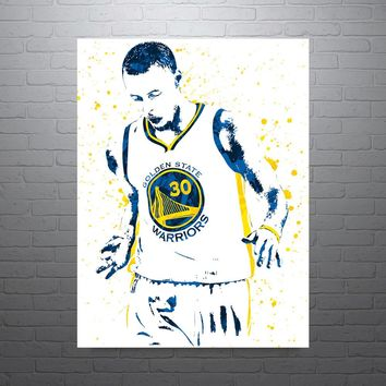 Stephen Curry Golden State Warriors Basketball White Jersey Poster