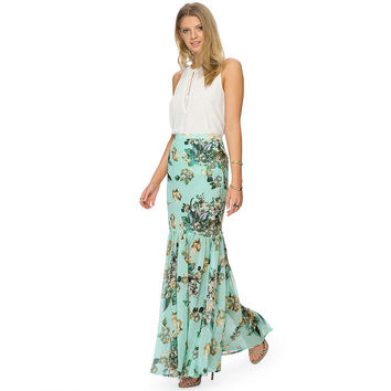 Green Floral Print Fishtail Maxi Skirt
