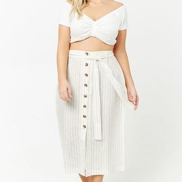 Plus Size Striped Button-Front Maxi Skirt