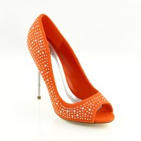 Red Orange 'Hutch' Sparkle Peep-Toe Stilettos