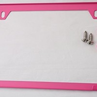 Premium UV Resistant Slim Style Stainless Steel License Plate Frame (2 Holes, Hot Pink)
