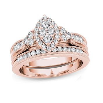 1/2 CT. T.W. Composite Marquise Diamond with Tri-Sides Bridal Engagement Ring Set in 14K Rose Gold