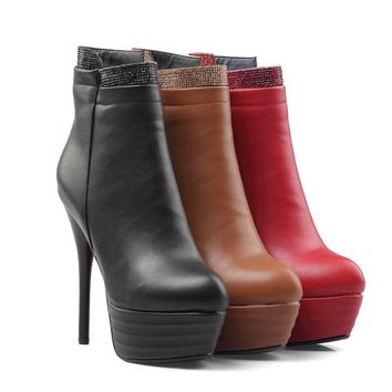 Women's Platform Ankle Boots Thin High Heels Shoes Zipper Booties Ladies Fashion