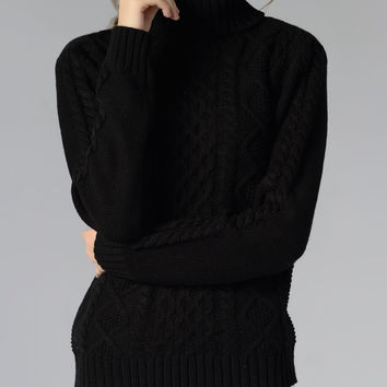 Casual Long Sleeve Turtle Neck Sweater