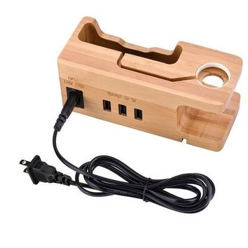 PEAPGQ6 AMIR USB Charging Station, Multi Device Charging Station with 3 USB Ports 3.0 Hub, Bamboo Charger Dock Organizer for iPhone X / 8 / 7 / 7Plus / 6s / 6, iWatch 38mm / 42mm, for Samsung & Smartphones