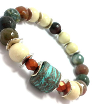 Stretch bead bracelet, chunky beaded bracelet, gemstone, bohemian, stretchy, yoga boho chic, stacking, indian agate, copper, patina, bone