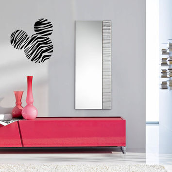 Zebra Print Mickey Mouse Head Silhouette Vinyl Wall Decal Sticker