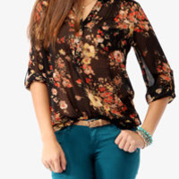 Pintucked Pleated Floral Top