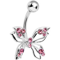 Pink Gem Lively Butterfly Belly Ring | Body Candy Body Jewelry