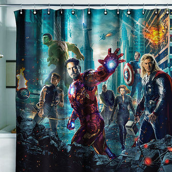 "Shower Bath Curtain avengers irong man movie heroes 71x71""(180x180cm)"