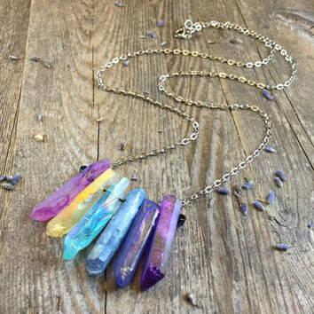 Rainbow Crystal Necklace Raw Crystal Healing Crystals and Stones Gift for Her Bohemian Necklace Rainbow Aura Quartz Crystal Necklace