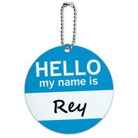 Rey Hello My Name Is Round ID Card Luggage Tag