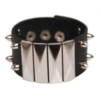 Black Leather Bracelet with Paillettes and Spikes Detail