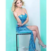 Faviana 2013 Prom - Sea Turquoise Strapless Sequin Fitted Prom Dress - Unique Vintage - Cocktail, Pinup, Holiday & Prom Dresses.