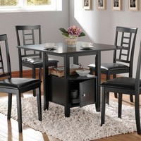 A.M.B. Furniture & Design :: Dining room furniture :: Small Dinette Sets :: Black finish sets :: 5 pc black finish wood square pedestal dining table set with storage base and leather like vinyl padded seats