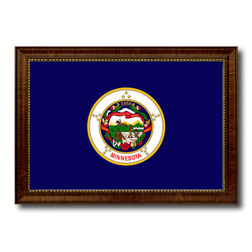 Minnesota State Flag Canvas Print with Custom Brown Picture Frame Home Decor Wall Art Decoration Gifts