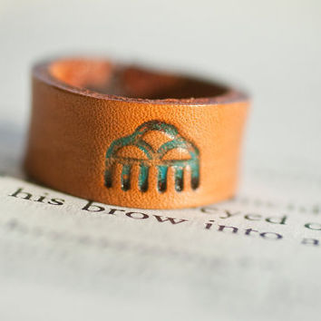 Leather ring  Spring Rain cloud ring Unisex  Hand by MesaDreams