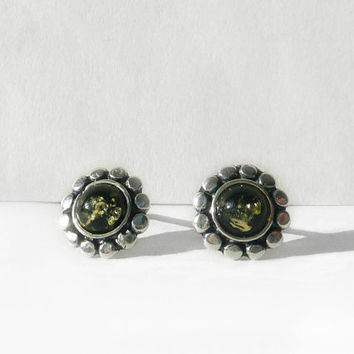 Flower Baltic Amber Stud Earring, Sterling Silver Earrings, Green Amber Earring Flower Studs, Natural  Amber Jewelry European Design, Artida