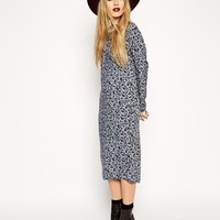 ASOS Reclaimed Vintage Midi Dress in Blue Pansy Print