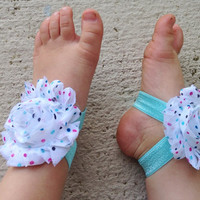 Baby Barefoot Sandals - Aqus Polka Dot Piggy Petals - Flower Sandals - Baby Girl Shoes - Baby Girl Sandals - Newborn Shoe- Baby Flower Shoes